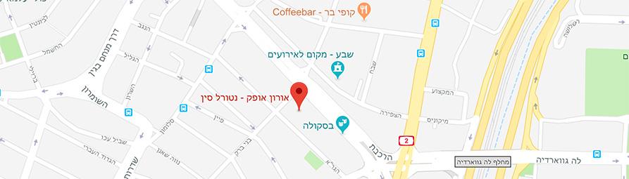 מפה של סניף נטורל סין בתל אביב